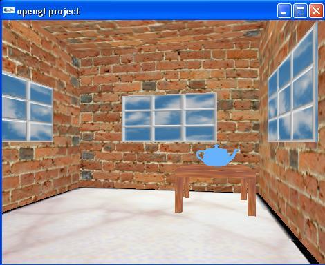 پروژه گرافیک کامپیوتری - اتاق - قوری - پترن - حرکت دوربین